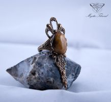 Tiger's eye gem gothic victorian adjustable ring by mysticthread