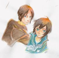 Water Colours_Yoite and Miharu by MaqiChanThunder