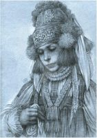 Girl in russian costume by Anwaraidd