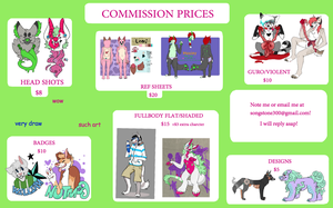 COMMISSION PRICE SHEET by LavaLampMutt