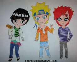 Lee, Naruto and Gaara by SoloPoloVision