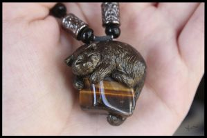 :.OOAK Pendant - Cat with stone.: by XPantherArtX