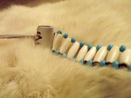 1/2 inch Hairpipe-Blue 1800's Regalia, closeup by jugga-lizzle