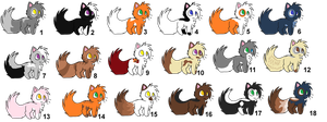 Big Sheet of Warrior Cat Adopts! {OPEN} by SNlCKERS