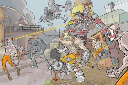 Borderlands 2: Krieg and the Mechro vs The Bandits by davidstonecipher