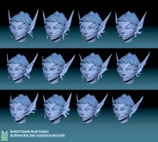 DokkAlfar female head sculpts by MinohKim