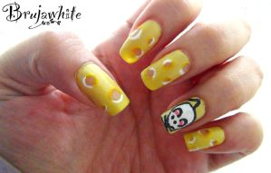 Alphabet nail art challenge: C is for cheese by Brujawhite