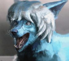 Portrait Commission: Sad Blue Rabbit Darkky by LindseyWArt