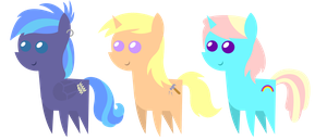 Art Trade: Pointy ponies by sofunnyguy