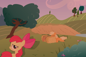 Applejack tired after a hard day's work by DataPony