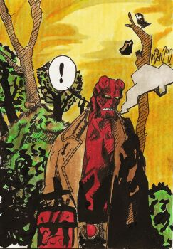 Hellboy sketch-card by WillWatt