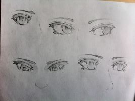 Angled Semi-Realistic Eye Practice (Easier to see) by Stealthies
