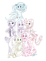 --My Little Pony-Humans-Lines-- by NickLavin