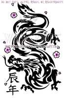 Year Of The Dragon Tribal Design by WildSpiritWolf