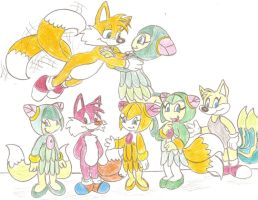 Tails and Cosmo's family by Jose-Ramiro