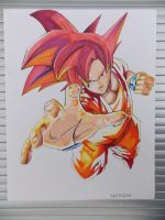 Goku Super Saiyan God drawing ( Complete ) by Abrutimonstre