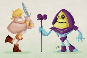 He Man and Skeletor by xochiltana