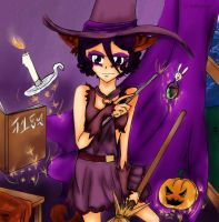 Commission: Witch Cat Rukia by Littlegrazygirl