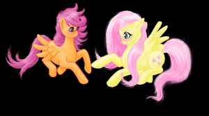 Scootaloo and Fluttershy by cathykitcat