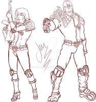 Fan Art Judge Dredd and Judge Anderson by Jen-Chan93