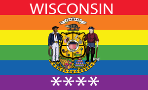 Wisconsin Gay Pride State Flag by RedFieldsOfNone