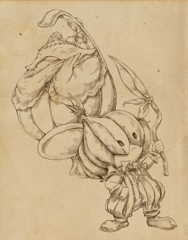 [Legend of Mana] Teapo and Duelle - Lineart by PaolaTuazon