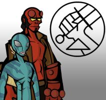 Hellboy and Abe Simple by razorface123