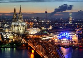 Cologne at evening 1 by skogmesteren