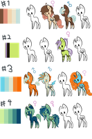 Colour Palette Pony Adopts by LittleLace