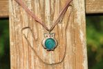 Teal Steampunk Owl Necklace by KiomyNightmare