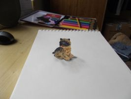 3D doggie is sitting on my paper by Mishice