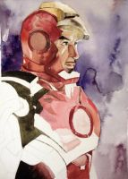 Iron Man Watercolor Practice by zer03908