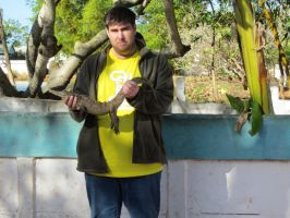 Me holdin a baby crocodile(or is it an alligator?) by LordofZero