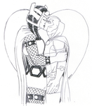 DSC 8-31-2014 - Big Barda and Mister Miracle by Jaebird88