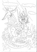 Lineart: cartoonish dragon by kxeron