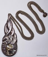 Sterling Silver and Watch Parts Abstract Pendant by randomasusual