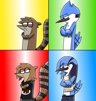 Mordecai y Rigby Genderbender by Gaze-the-wolf