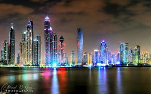 Dubai Marina on a cloudy night by ahmedwkhan