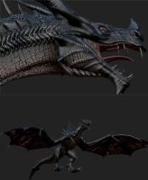 Skyrim Dragon Retextured via zbrush 1 by Zerofrust