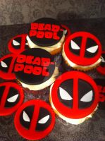 Deadpool Fondant Cupcakes and Toppers by Corpse-Queen