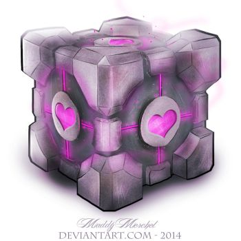 Guess who drew a Companion Cube by Sky-Kitten