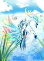 :Water Princess and Her Swan: by sparkling-dreamz