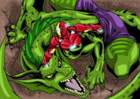 Iron man vs fin fang foom by psychotoonist