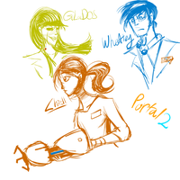 Portal 2 sketches by SolarPaintDragon