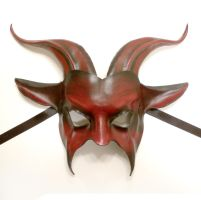 Red and Black Goat Leather Mask by teonova