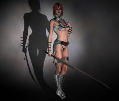 Redhead Warrior and a Sword by QuanticDementia