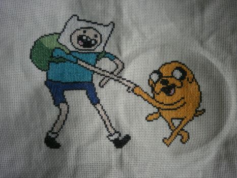Adventure time with Finn And Jake Cross stitch by KitsuneGemma