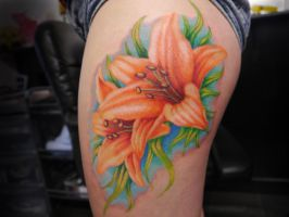 Bright Lillies Tattoo by IanInkTattoo