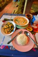 Green curry, fried squid and vegetables, and rice by drewhoshkiw