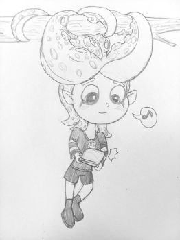 Doodle - Julie Gaming on a Tree by Rotommowtom
